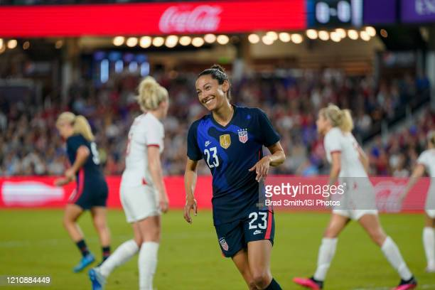 Christen Press of the United States celebrates during a game between England and USWNT at Exploria Stadium on March 05 2020 in Orlando Florida