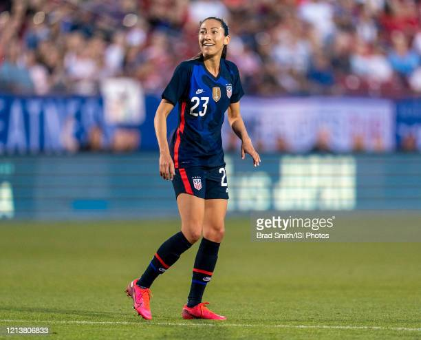 Christen Press of the United States celebrates during a game between Japan and USWNT at Toyota Stadium on March 11 2020 in Frisco Texas