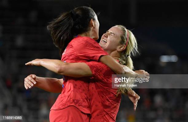 Christen Press of the United States congratulates teammate Lindsey Horan on a goal against Portugal during the second half of the USWNT Victory Tour...