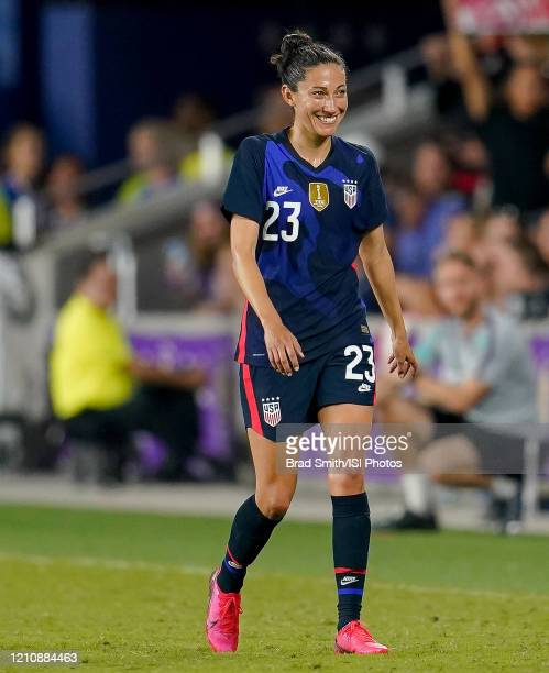 Christen Press of the United States during a game between England and USWNT at Exploria Stadium on March 05 2020 in Orlando Florida