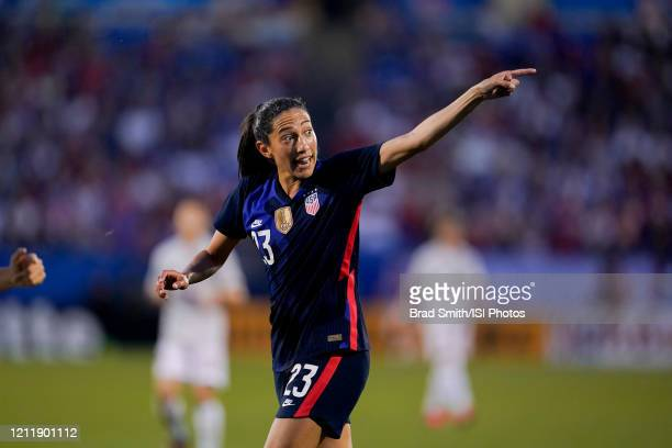 Christen Press of the United States giving directions during a game between Japan and USWNT at Toyota Stadium on March 11 2020 in Frisco Texas