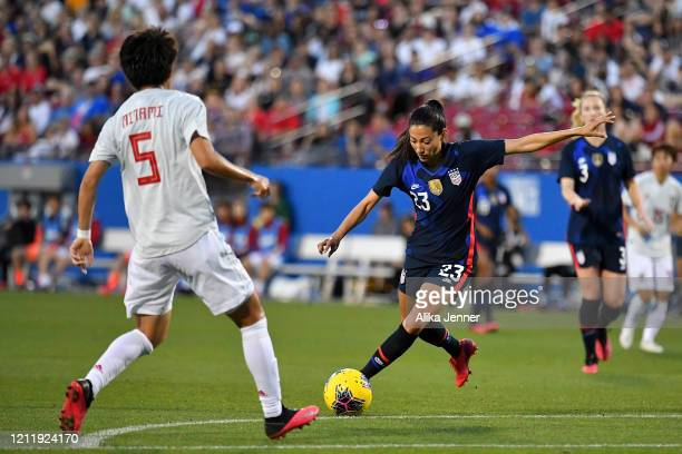 Christen Press of the United States kicks a goal during the first half of the SheBelieves Cup match against Japan at Toyota Stadium on March 11 2020...