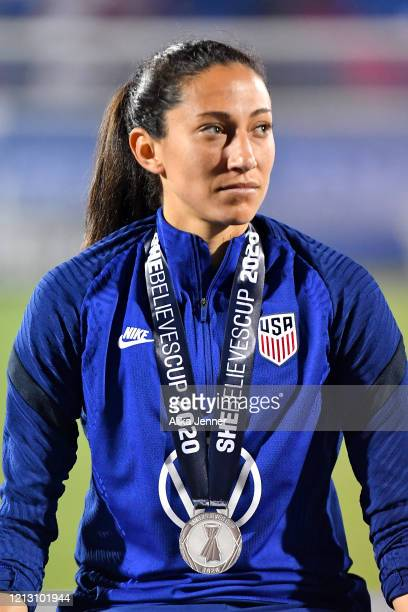 Christen Press of the United States looks on after the SheBelieves Cup match against Japan at Toyota Stadium on March 11 2020 in Frisco Texas The...