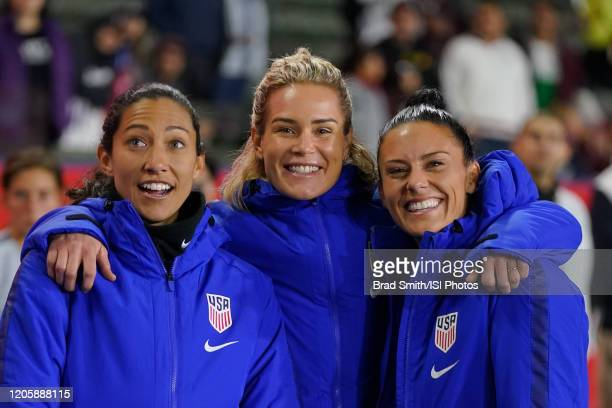 Christen Press of the United States poses for a picture with teammates Ashlyn Harris and Ali Krieger during a game between Mexico and USWNT at...