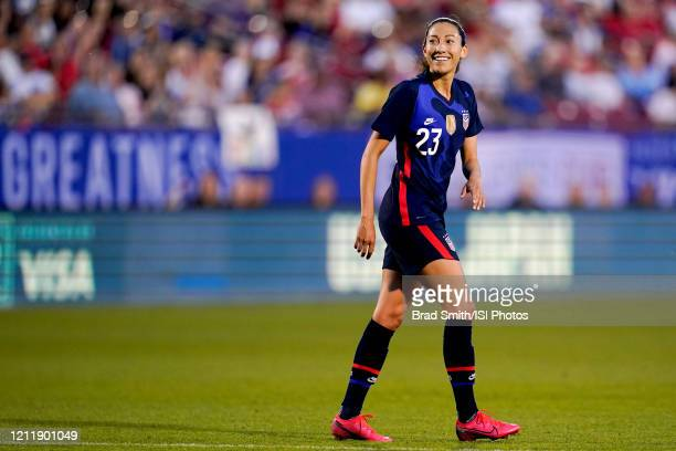 Christen Press of the United States scores a goal and celebrates during a game between Japan and USWNT at Toyota Stadium on March 11 2020 in Frisco...
