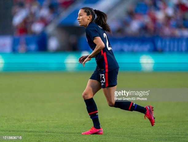 Christen Press of the United States sprints during a game between Japan and USWNT at Toyota Stadium on March 11 2020 in Frisco Texas