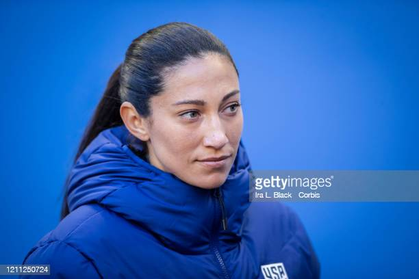 Christen Press of the United States takes the bench at the start of the 2020 SheBelieves Cup match between United States and Spain sponsored by Visa...