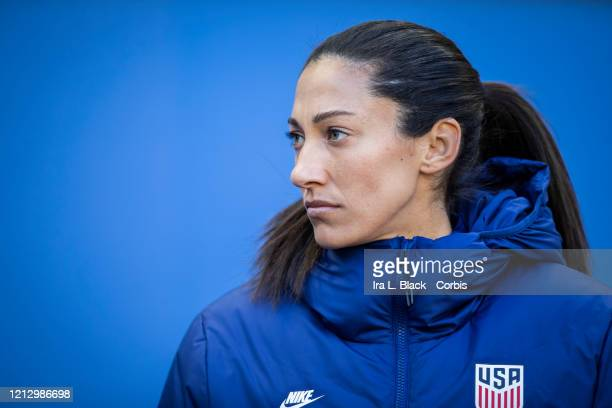 Christen Press of the United States takes the bench for the 1st half of the 2020 SheBelieves Cup match between United States and Spain sponsored by...
