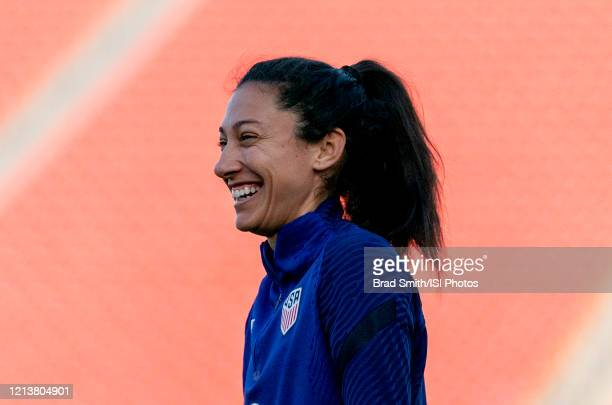 Christen Press of the United States warms up at Toyota Stadium on March 10 2020 in Frisco Texas
