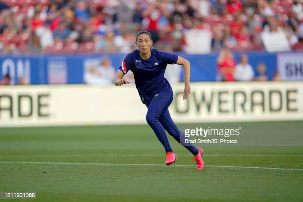 Christen Press of the United States warms up during a game between Japan and USWNT at Toyota Stadium on March 11 2020 in Frisco Texas