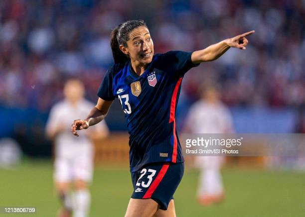 Christen Press of the United States yells to a referee during a game between Japan and USWNT at Toyota Stadium on March 11 2020 in Frisco Texas