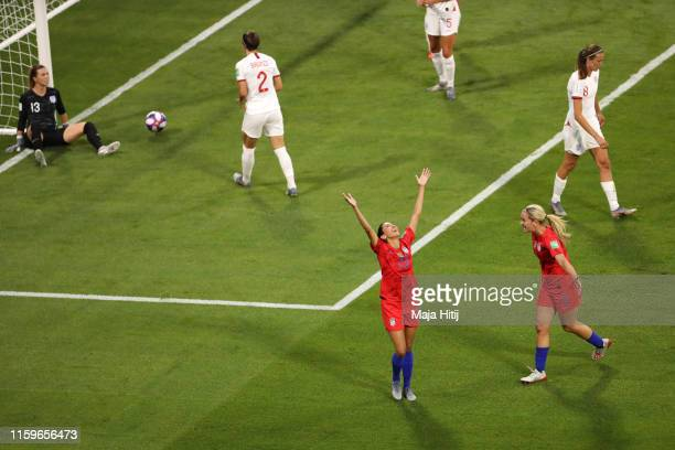 Christen Press of the USA celebrates after scoring her team's first goal during the 2019 FIFA Women's World Cup France Semi Final match between...