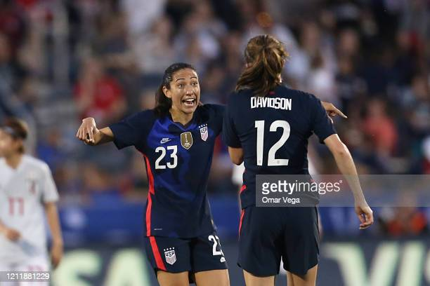 Christen Press of the USA celebrates after scoring the 2nd goal during a match between United States and Japan as part of 2020 SheBelieves Cup at...
