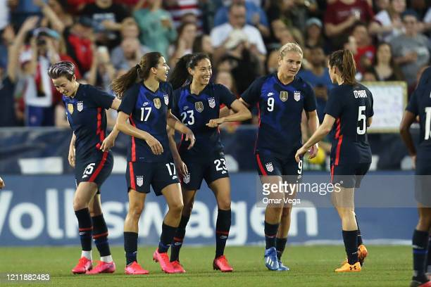 Christen Press of the USA celebrates the 2nd goal with teammates during a match between United States and Japan as part of 2020 SheBelieves Cup at...
