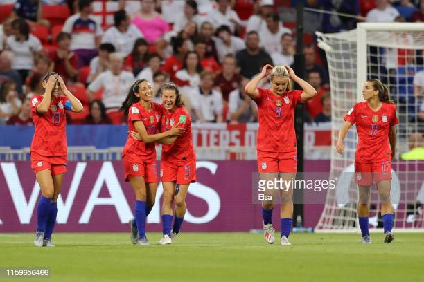 Christen Press of the USA celebrates with teammate Kelley O'hara after scoring her team's first goal during the 2019 FIFA Women's World Cup France...