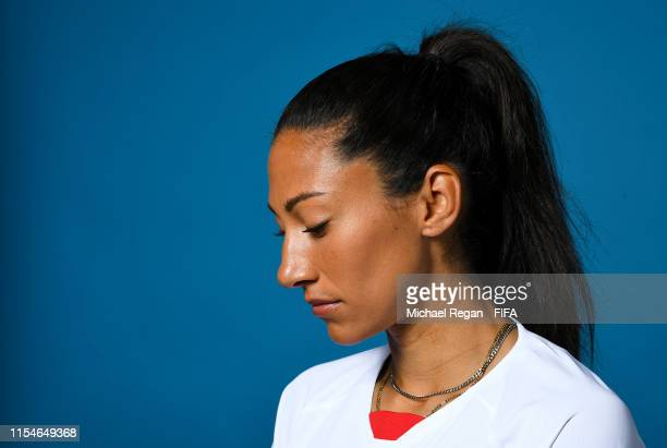 Christen Press of the USA poses for a portrait during the official FIFA Women's World Cup 2019 portrait session at Best Western Premier Hotel de la...