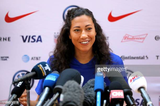 Christen Press of the USA speaks the media during the USA Media Access at Hotel Lyon Metropole on July 01 2019 in Lyon France