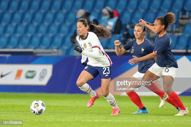 Christen Press of United States is challenged by Ines Jaurena of France during the International women friendly match between France and United...