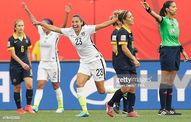 Christen Press of United States of America celebrates scoring a goal during the FIFA Women's World Cup Canada 2015 Group D match between Sweden and...
