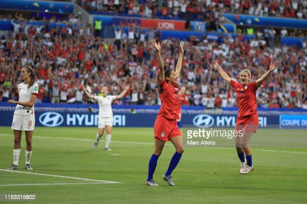 Christen Press of USA celebrates scoring the opening goal during the 2019 FIFA Women's World Cup France Semi Final match between England and USA at...