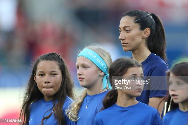 Christen Press of USA looks on during a match between United States and Japan as part of 2020 SheBelieves Cup at Toyota Stadium on March 11 2020 in...