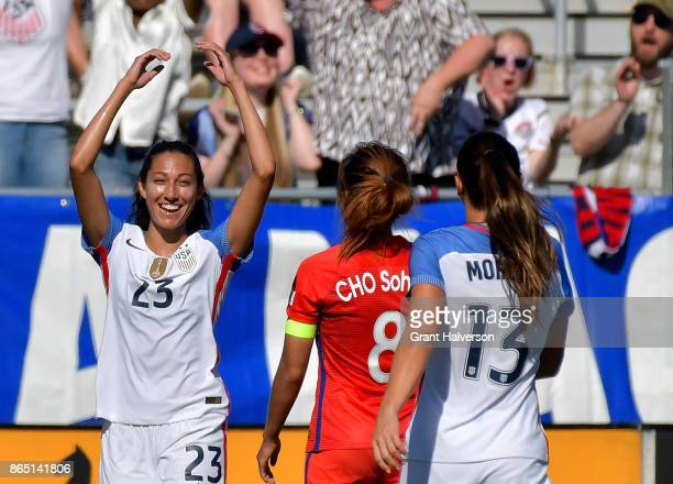 Christen Press of USA reacts after scoring a goal against Korea Republic during their game at WakeMed Soccer Park on October 22 2017 in Cary North...
