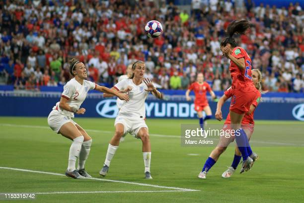 Christen Press of USA scores the opening goal during the 2019 FIFA Women's World Cup France Semi Final match between England and USA at Stade de Lyon...