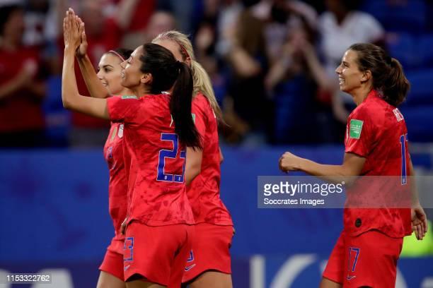 Christen Press of USA Women Lindsey Horan of USA Women Tobin Heath of USA Women celebrate 11 during the World Cup Women match between England v USA...