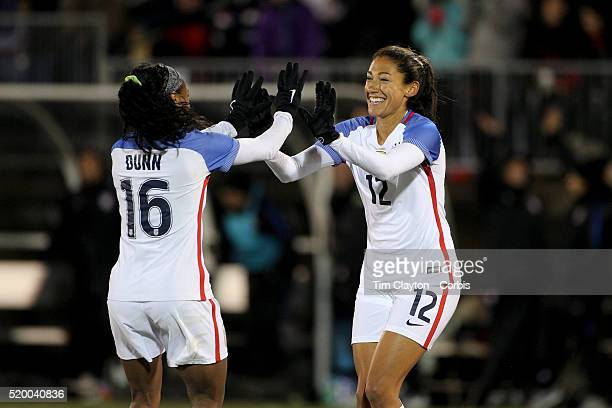 Christen Press USA celebrates with team mate Crystal Dunn after scoring during the USA Vs Colombia Women's International friendly football match at...