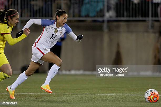Christen Press, USA, in action during the USA Vs Colombia, Women's International friendly football match at the Pratt & Whitney Stadium on April 6,...