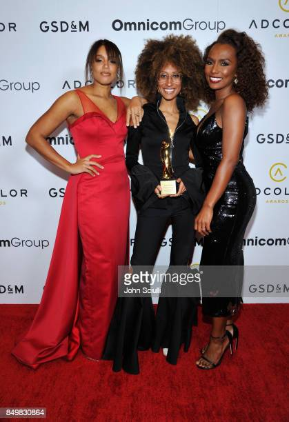 Christena J. Pyle, honoree Elaine Welteroth and Janet Mock attend the 11th Annual ADCOLOR Awards at Loews Hollywood Hotel on September 19, 2017 in...