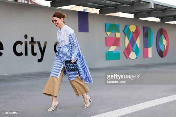 Christene Barberich outside the Versace Show during Milan Fashion Week Spring/Summer 2017 on September 23 2016 in Milan Italy