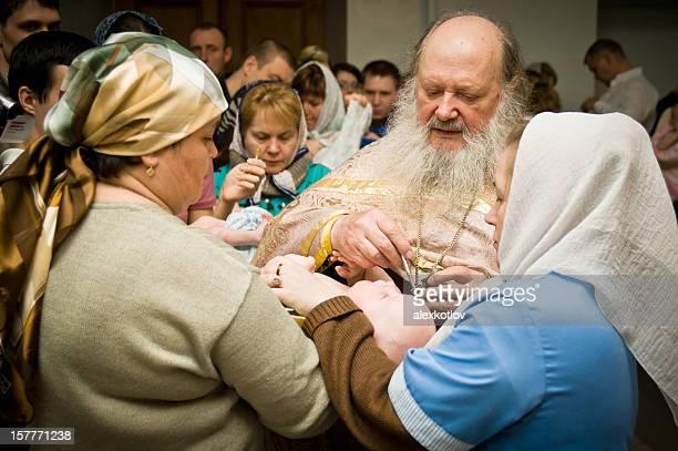 christening ceremony in russia - peettante stockfoto's en -beelden