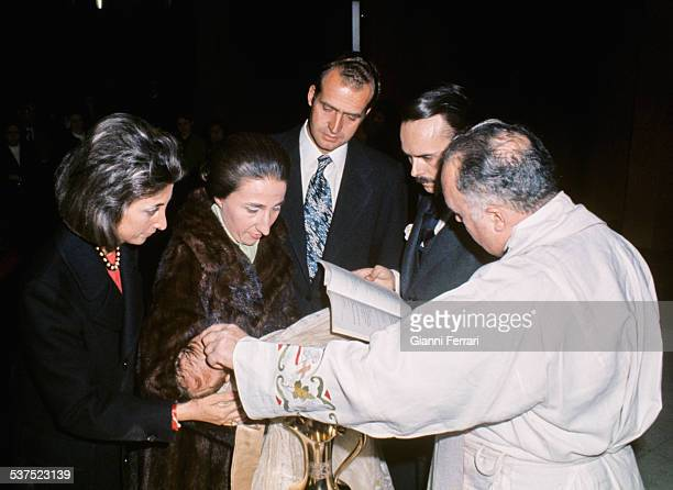 Christening of Alfonso son of the Princess Margarita of Borbon and Carlos Zurita with the presence of Spanish King Juan Carlos Madrid Spain