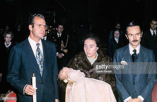 Christening of Alfonso son of the Princess Margarita of Borbon and Carlos Ziurita with Spanish Prince Juan Carlos of Borbon as godfather Madrid Spain