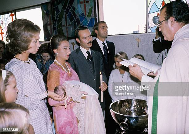 Christening of Maria daughter of the Princess Margarita of Borbon sister of the King Juan Carlos and Carlos Zurita with Spanish Queen Sofia of Greece...