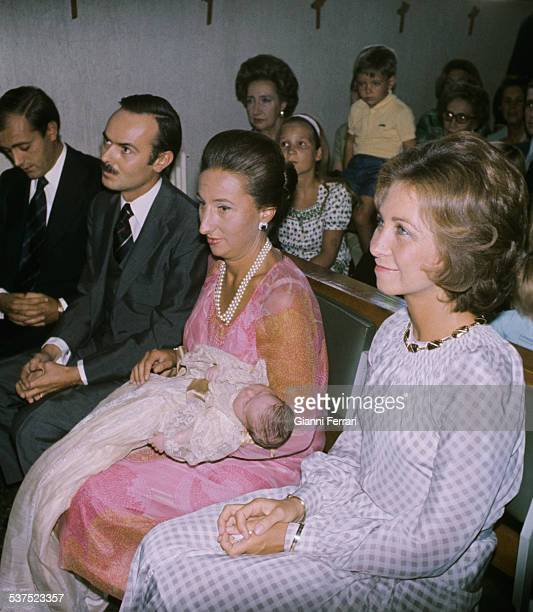 Christening of Mariadaughter of the Princess Margarita of Borbon and Carlos Zurita with Spanish Queen Sofia of Greece as godmother Madrid Spain