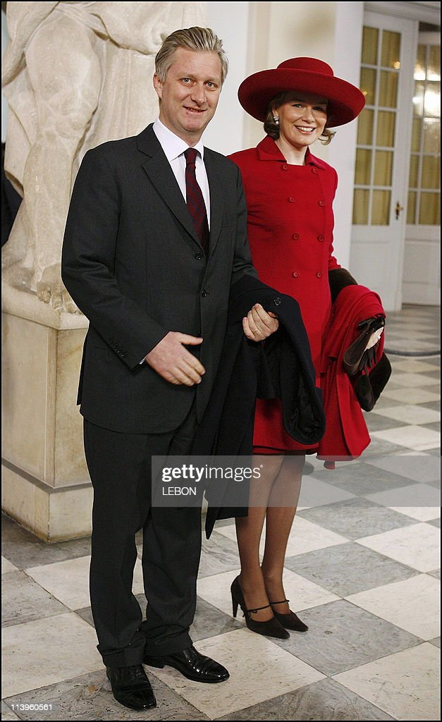 Christening of Prince Christian of Denmark in Copenhagen, Denmark On January 21, 2006-Arrival of Prince Philippe and princess Mathilde of Belgium at the Drabant hall.