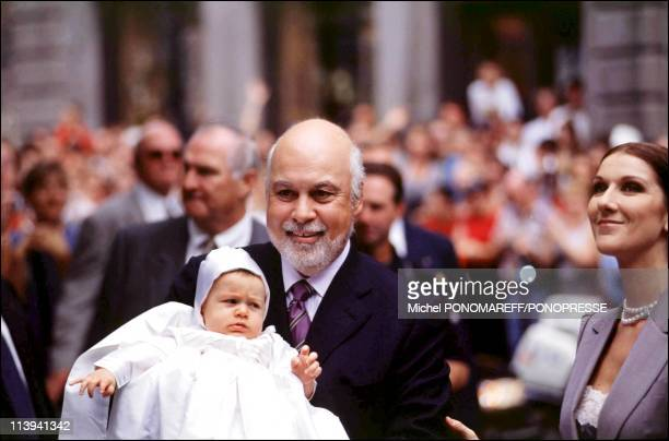 Christening of Rene Charles son of Celine Dion and Rene Angelil In Canada On July 25, 2001-Celine Dion, her husband Rene Angelil and their son Rene...