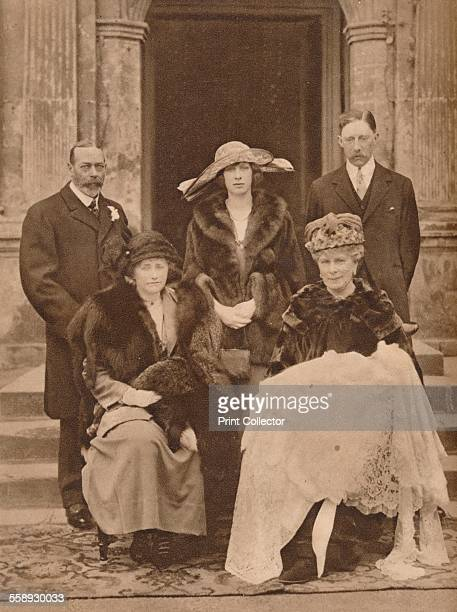 Christening of the first child of Mary Princess Royal Goldsborough Yorkshire 25 March 1923 The group includes Queen Mary holding her first grandchild...