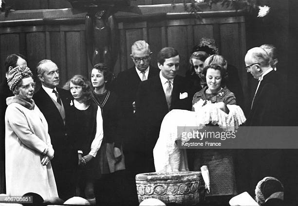 Christening of young Prince Willem Alexander with his grandmother Queen Juliana on left and parents Prince Claus and Princess Beatrix in 1967 in...