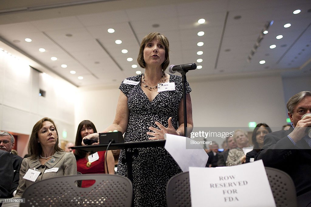 Christi Turnage, a breast cancer patient, testifies in favor of Avastin during a Food and Drug Administration (FDA) hearing in Silver Spring, Maryland, U.S., on Tuesday, June 28, 2011. Breast-cancer patients and their families urged U.S. regulators to back down from a plan to withdraw approval for Roche Holding AG's Avastin, saying the treatment offered significant benefits for some women. Photographer: Joshua Roberts/Bloomberg via Getty Images