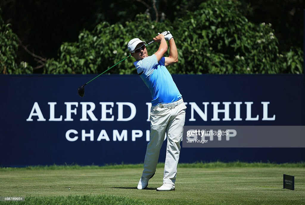 Christiaan Basson of South Africa tees off on the 10th hole during day one of the Alfred Dunhill Championship at Leopard Creek Country Golf Club on November 26, 2015 in Malelane, South Africa.