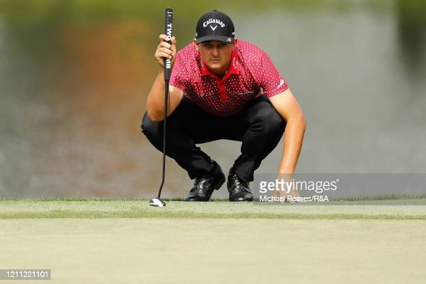 Christiaan Bezuidenhout of South Africa looks over a putt on the eighth green during The Open Qualifying Series part of the Arnold Palmer...