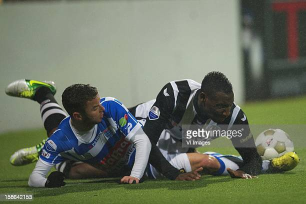 Christiaan Cicek of PEC Zwolle Geoffrey Castillion of Heracles Almelo during the Dutch Eredivise match between Heracles Almelo and PEC Zwolle at the...