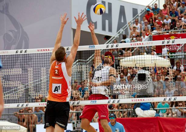 Christiaan Varenhorst of Netherlands comepetes against Adrian Gavira Collado of Spain during Day 9 of the FIVB Beach Volleyball World Championships...