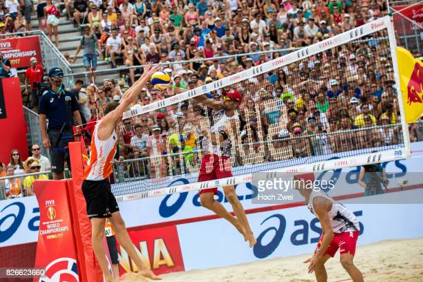 Christiaan Varenhorst of Netherlands competes against Adrian Gavira Collado of Spain during Day 9 of the FIVB Beach Volleyball World Championships...