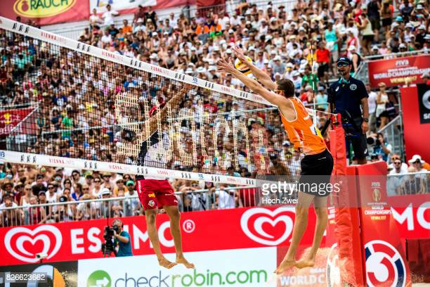Christiaan Varenhorst of Netherlands in action during Day 9 of the FIVB Beach Volleyball World Championships 2017 on August 5 2017 in Vienna Austria