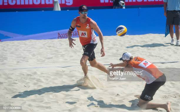 Christiaan Varenhorst of the Netherlands and Alexander Brouwer of the Netherlands competing during semi final match between Anders Berntsen Mol of...