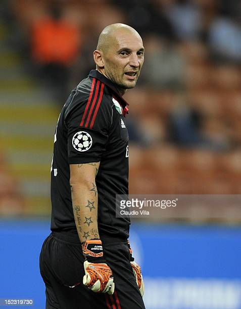 Christian Abbiati of AC Milan looks on during the UEFA Champions League group C match against RSC Anderlecht at Stadio Giuseppe Meazza on September...
